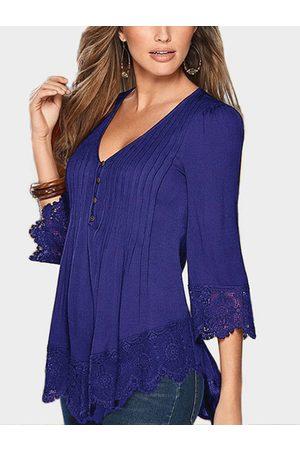 YOINS Pleated Design V-neck 3/4 Length Sleeves Lace Hem Blouse