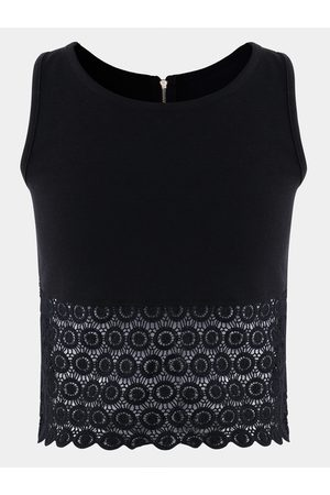 YOINS Crochet Lace Embellished Zipper Design Tank Top