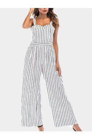 YOINS Backless Design Stripe V-neck Sleeveless Middle-waisted Jumpsuit