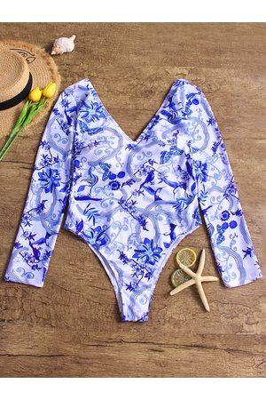 YOINS Sexy Long Sleeves Open Back Swimwear