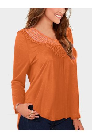 YOINS Lace Insert Round Neck Long Sleeves Top