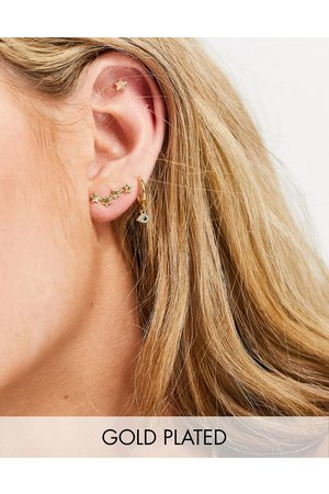 Pieces 18k plated star stud and star constellation earring in