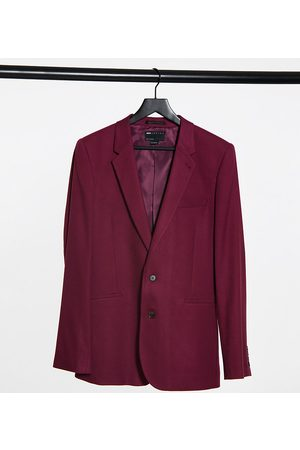 ASOS Tall skinny suit jacket in burgundy twill