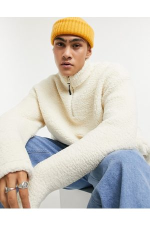ASOS Teddy borg sweatshirt with half zip in cream