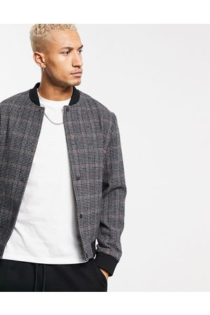 ASOS Wool mix bomber jacket in dogtooth check