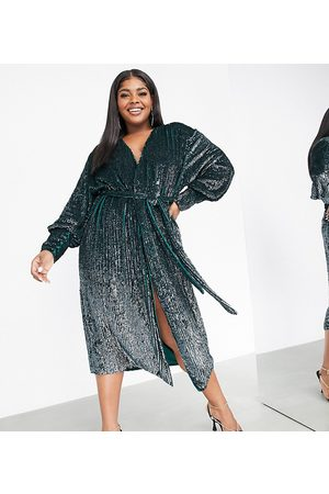 ASOS Curve sequin wrap midi dress in forest