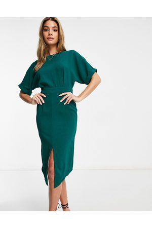 ASOS Wiggle midi dress in forest