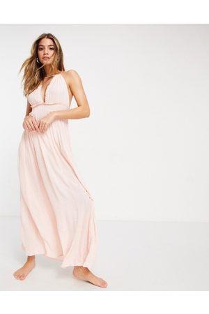 ASOS Halter tiered maxi beach dress in metallic stripe crinkle