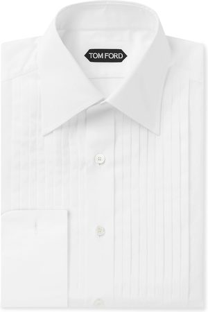 Tom Ford Slim-Fit Bib-Front Cotton-Poplin Tuxedo Shirt