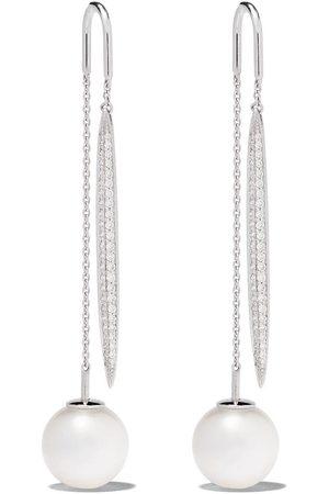 Yoko London 18kt white gold Novus South Sea pearl and diamond drop earring