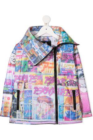 DUOltd Tokyo print asymmetric coat