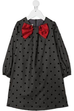 LA STUPENDERIA Bow-embellished polka-dot-print dress