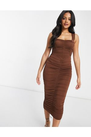 ASOS Sweetheart neckline ruched midi bodycon dress in chocolate