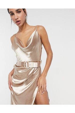 ASOS Cami satin midi dress with cowl neck and belt in soft