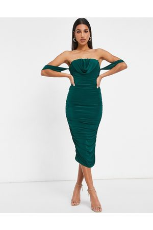 Femme Luxe Bodycon dress with drape detail in emerald