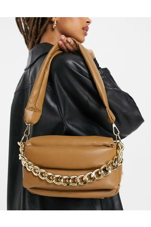 ASOS Puffed quilted shoulder bag in with chunky chain