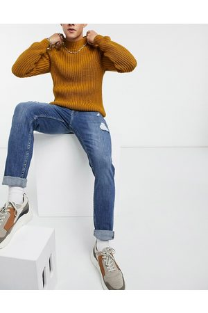 ASOS Skinny jeans in mid greencast wash with rips
