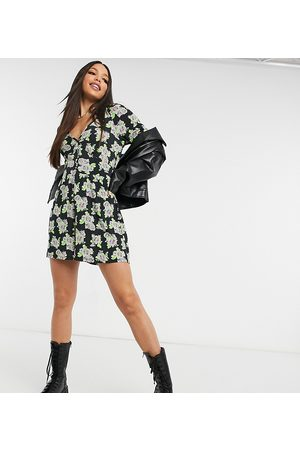 ASOS Tall Women Playsuits - ASOS DESIGN tall button front playsuit in spaced floral print-Multi