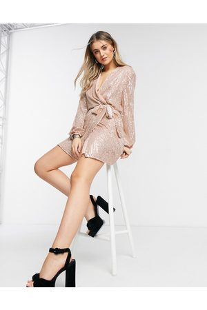 Style Cheat Sequin wrap tie mini dress with balloon sleeve in rose