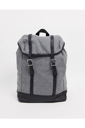 ASOS Backpack in melton with contrast faux leather base