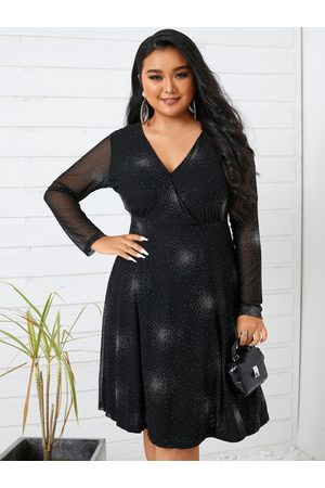YOINS Plus Size Halloween V-neck Wrap Design Long Sleeves Midi Dresses