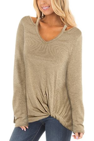 YOINS Taupe Crossed Front Design Cut Out Long Sleeves T-shirt