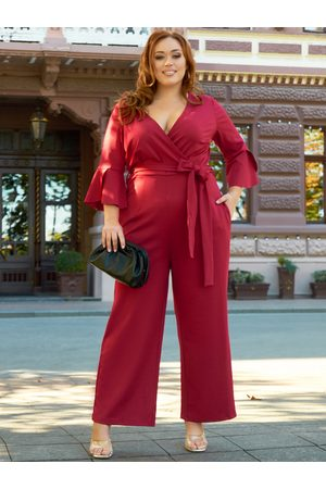 YOINS Plus Size V-neck Wrap Design Belt Design Half Sleeves Jumpsuit