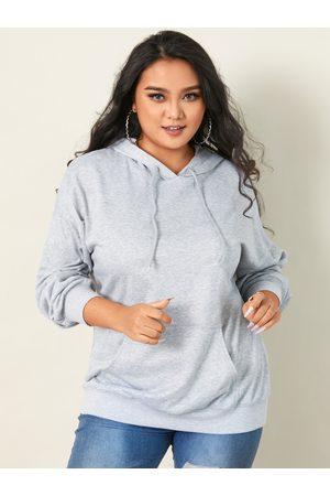 YOINS Plus Size Hooded Design Pocket Design Long Sleeves Sweatshirt