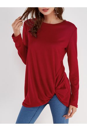 YOINS Pleated Design Round Neck Long Sleeves T-shirts