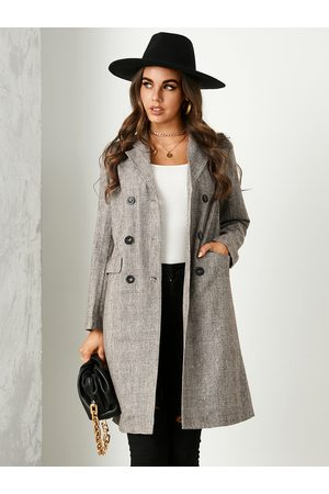 YOINS Brown Plaid Double Breasted Design Lapel Collar Coat