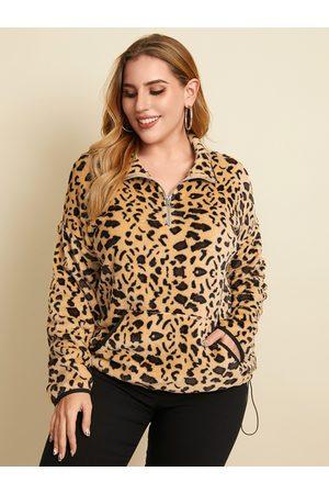 YOINS Plus Size Leopard Side Pockets Zip Front Long Sleeves Sweatshirt
