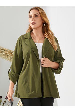 YOINS Plus Size Lapel Collar Long Sleeves Coat