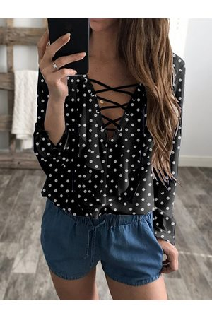 YOINS Wave Point Lace-up V-neck Long Sleeves Chiffon Blouse