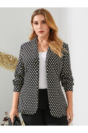 YOINS Plus Size Notch Collar Polka Dot Long Sleeves Coat