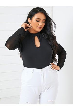 YOINS Plus Size Patchwork Button Keyhole Design Cut Out Long Sleeves Tee