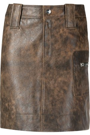 Ganni Washed leather mini skirt