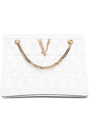 VERSACE Quilted-effect logo tote bag