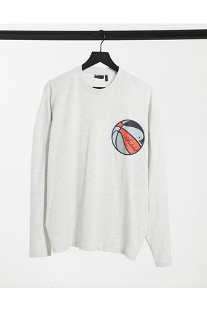 ASOS Actual Oversized long sleeve t-shirt in marl with basketball print