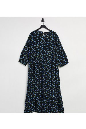 Glamorous Midi smock dress in forget me not floral