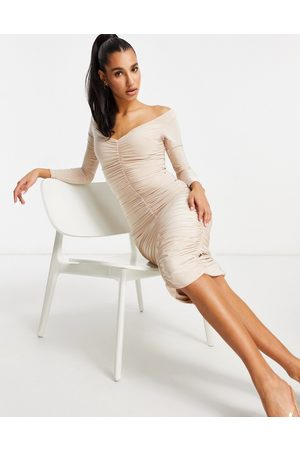 Club L Sweetheart neck all over ruched midi pencil dress in mushroom