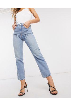 ASOS High rise stretch 'slim' straight leg jeans in lightwash