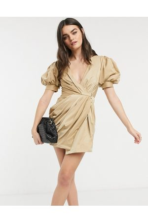 ASOS Structured drape wrap mini dress with puff sleeve detail