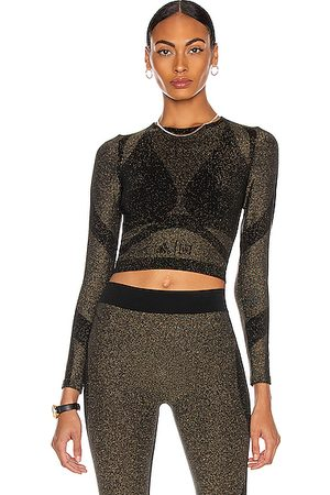 Wolford X Adidas Studio Motion Long Sleeve Crop Top in Metallic