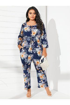 YOINS Plus Size Round Neck Floral Print 3/4 Length Sleeves Jumpsuit
