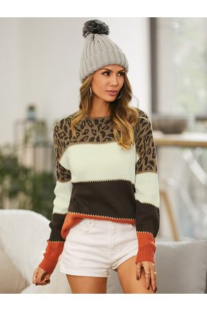 YOINS Leopard Patchwork Crew Neck Long Sleeves Sweater