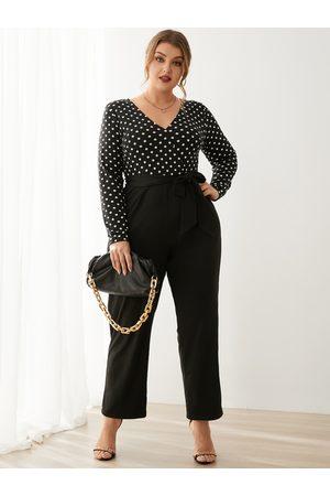 YOINS Plus Size V-neck Polka Dot Backless Design Belt Design Long Sleeves Jumpsuit