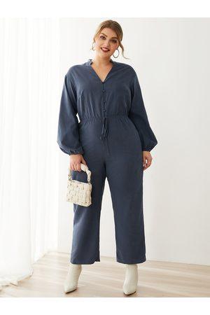 YOINS Plus Size V-neck Button Design Side Pockets Long Sleeves Jumpsuit