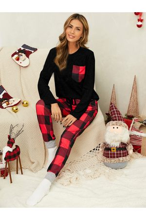 YOINS Christmas Plaid Patchwork Drawstring Long Sleeves Two Pieces Outfit