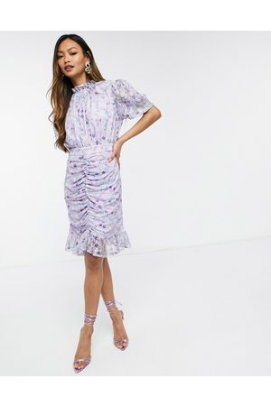 Forever U Mini dress with mesh ruching in lilac floral