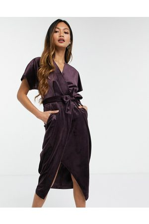 Closet Kimono sleeve velvet midi dress with wrap tie in plum